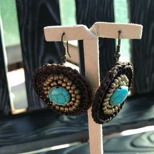 Jewelry - Turquoise and Brown Drop Earrings